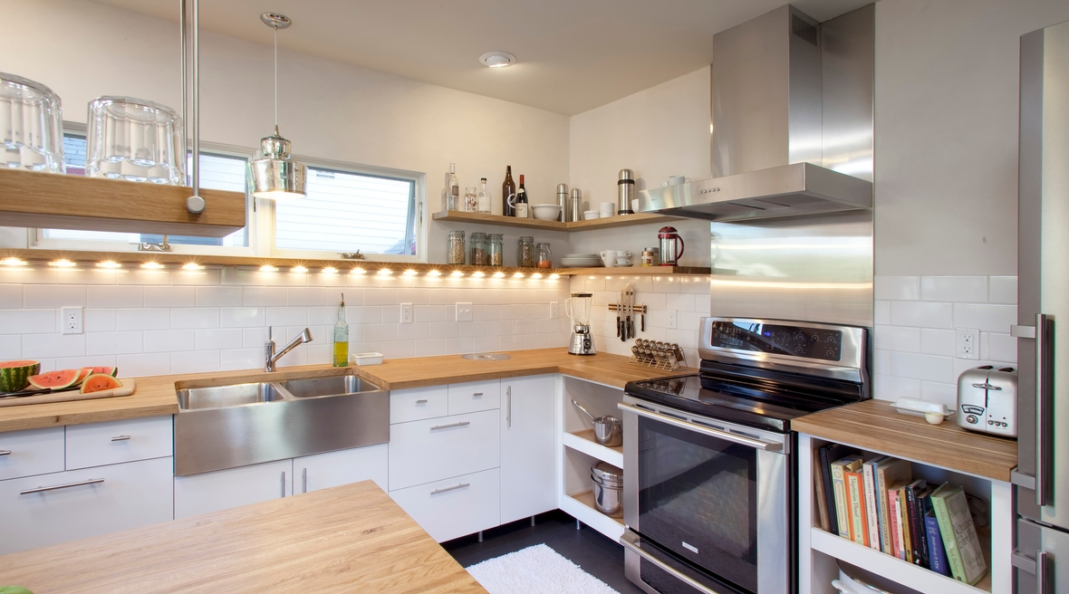 green residential construction kitchen remodel